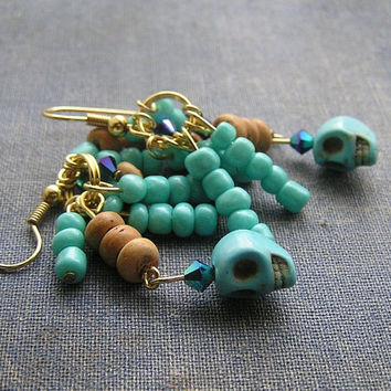 Frida day of the dead SkuLL dangle earrings 2  inches blue skulls wood crystals gold plated