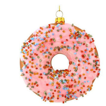 Frosted Doughnut Glass Christmas Ornament