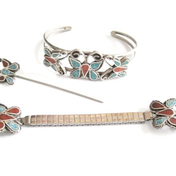 Butterfly Bracelet Watch Band Stick Pin Sterling Jewelry Set