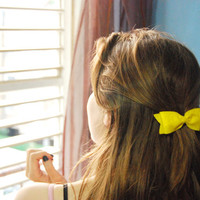 Yellow bow hair clip - cute felt bow barrette, spring accessory for women and girls