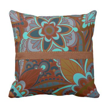 Brown and Turquoise Boho Pillow