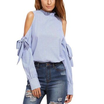 Shoulder Cut Out Long Sleeve Loose Blouse Top