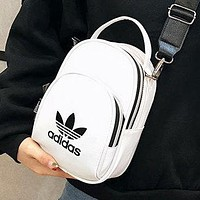 Adidas Fashion New Letter Leaf Print Women Men Shoulder Bag Crossbody Bag White