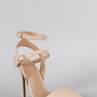 Wild Diva Lounge Double Ankle Strap Pointy Toe Pump