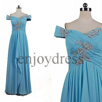 Custom Blue Off Shoulders Beaded Long Prom Dresses Formal Evening Gowns Wedding Party Dresses Formal Party Dresses Dress Party Formal Wear