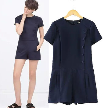 Stylish Round-neck Short Sleeve Slim Women's Fashion Jumpsuit [4919033476]