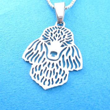 Detailed French Poodle Shaped Cut Out Pendant Necklace in Silver | Animal Jewelry