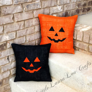 14x14 Jack-O'-Lantern Burlap Pillow Cover, Halloween Decor, Pumpkins, Halloween Pillow, Fall Pillow, Black Burlap, Fall Decor, Gift for Her