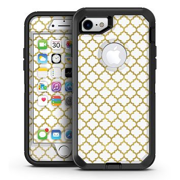 White and Gold Foil v7 - iPhone 7 or 7 Plus OtterBox Defender Case Skin Decal Kit