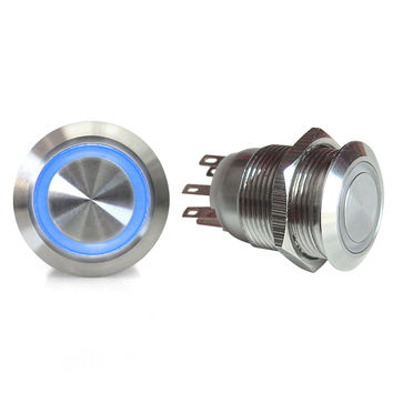 19mm Momentary Billet Button w LED Blue Ring