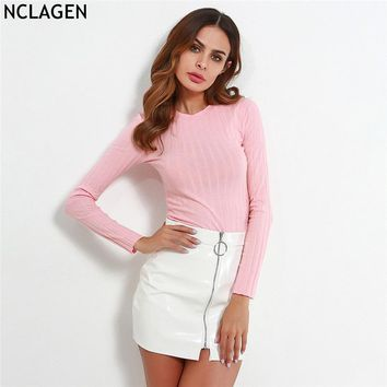 NCLAGEN 2018 New Women Long Sleeve Spring Autumn T-shirt Pure Cotton Ribbed Bustier Knitting Crop Top Sexy Slim Fit T Shirt