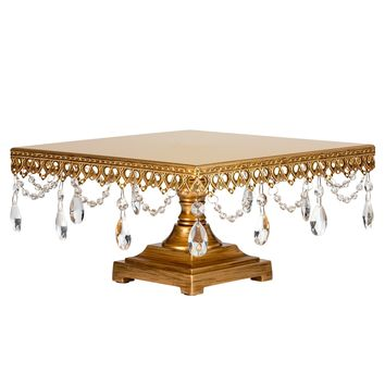 Vintage Crystal-Draped Square Wedding Cake Stand (Gold)