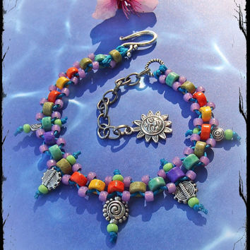 Tribal ANKLE Bracelet RAINBOW beaded Anklet BOHO jewelry stackable anklet barefoot sandals foot jewelry barefoot Hippie Swirls