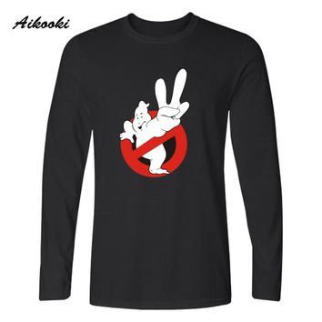 Aikooki Movie Ghostbusters T Shirt Men's Tee Harajuku TShirts Mango and Ghost Busters Funny T-Shirt in Black