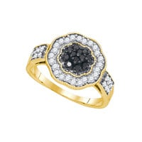 Black Diamond Fashion Ring in 10k Gold 0.5 ctw