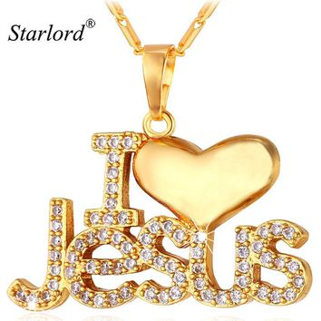 Starlord Jesus Piece Pendant Necklace Trendy Gold Color Chain Crystal Heart Necklace Women/Men Christian Jewelry P1128