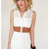 White Sleeveless Shirt Dress with Tie Waist