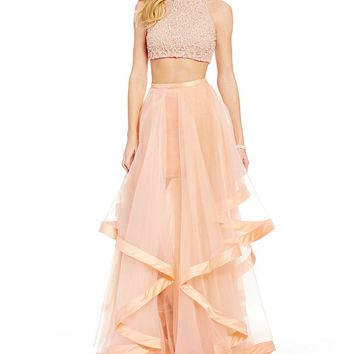 Glamour by Terani Couture High Neck Beaded Bodice Crop-Top Two-Piece Ball Gown | Dillards