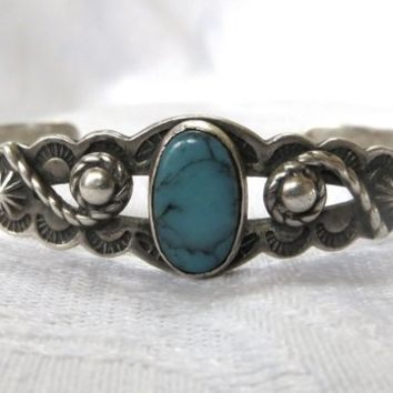 Navajo Turquoise Cuff Bracelet Etched Sterling Silver Leaves Vintage Navajo Jewelry Old Pawn