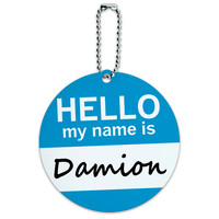 Damion Hello My Name Is Round ID Card Luggage Tag