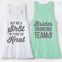 "Bachelorette Party Tank Top Bridal Party Tank Top Rhinestone Ring ""Buy Me A Shot I'm Tying the Knot"" and ""Bride's Drinking Team"" XS-XXL"