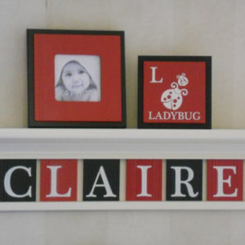 "Baby Nursery Girl Name Sign Shelf with Ladybugs 8 Letters - Personalized Red / Black Plaques - CLAIRE with Bugs, 30"" Linen (Off White) Shelf"