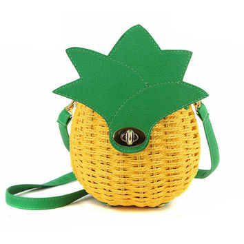 Straw Bag Women Beach Bag Hand-Made Woven Circular Shoulder Handbag Messenger Bags 2017 New Cute Fruit Travel Pineapple Purse