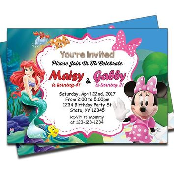 Little Mermaid and Minnie Mouse - Double Birthday Invitations