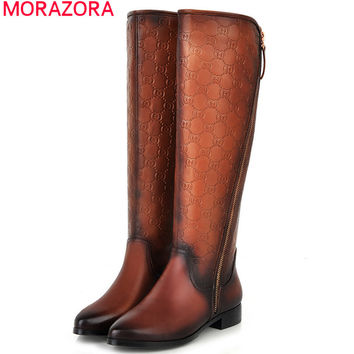 MORAZORA 2016 new Brand Quality Winter Womens Boots PU+Genuine Leather Knee High Boots Flats Heels Shoes Women motorcycle Boots