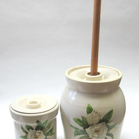 Shakers and Thangs Pottery Stoneware Butter Churn and Crock White Flower