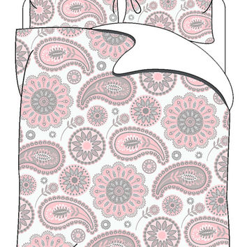 Personalized Custom Gypsy White-Pink-Grey Paisley Bedding and pillowcovers- Available Twin, Queen, King size
