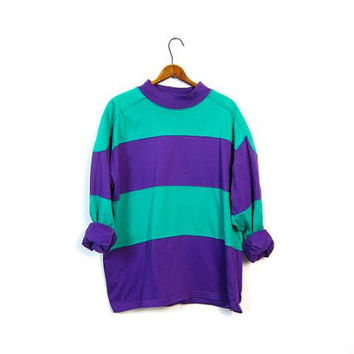80s Striped Boyfriend Rugby Shirt Green Purple Tomboy Colorblock Oversized Baggy Hipster Unisex Shirt size Mens Large Vintage