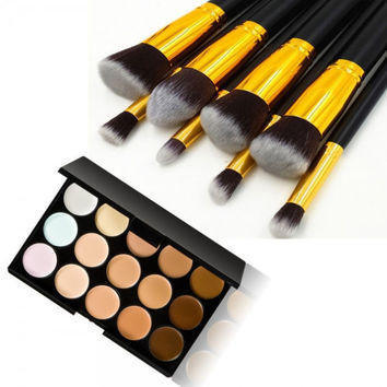 15-Color Concealer Palette & 8pcs Wooden Handle Makeup Brush Kit Gift + Free Shipping + Big Discount