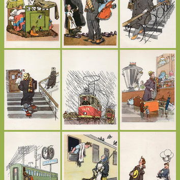 What an Absent-Minded Guy (Artist A. Kanevsky) Postcard - Set of 09 Vintage Postcards - Printed in the USSR, «Soviet Artist», Moscow, 1970