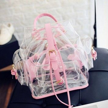 Clear Backpacks popular Summer Women Transparent Backpack Clear Plastic Travel Mochila Girls PVC School Bags Casual Candy Jelly Shoulder Beach Bag Pink AT_62_4