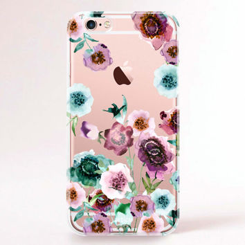 Clear Transparent iPhone 6s case, iPhone 6s plus case, iPhone 6 Case, iPhone 6 Plus Case, iPhone 5S Case, iPhone 5C Case - Flower drops
