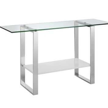 Casabianca Home CLARITY CB-3441-W Console Table High Gloss White Lacquer