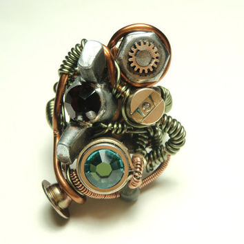 cyberpunk ring steampunk wire ring steampunk work by keoops8