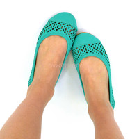 Orlando Mint Perforated Flats