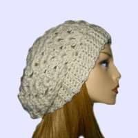 Slouchy Hat Slouchy Beanie Crochet Oatmeal Linen Spring Beany Fashion