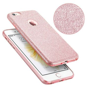 SZJJX iPhone 6 plus/6s plus Shiny Series [Bling Crystal] TPU Bumper Case for Apple iPhone 6 plus/6s plus Shock Absorbing Scratch Resistant Frame Cover Protector 5.5 inch-Pink