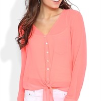 V-Neck Sun Washed Neon Top with Front Tie and Rolled Sleeves