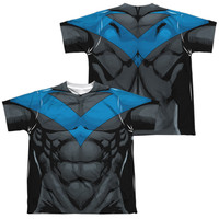 BATMAN/NIGHTWING BLUE UNIFORM (FRONT/BACK PRINT)-S/S YOUTH POLY CREW-WHITE