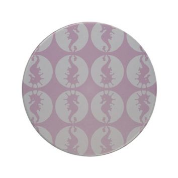 Seahourse Silhouettes in Gray and Purple Coaster