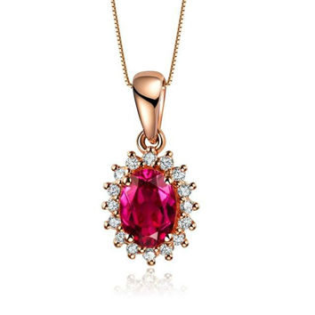 gvbori colored gemstone 18k gold necklace pendant red tourmaline & south african diamond fine