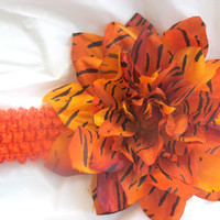 Orange and Black Tiger Stripe Flower Headband
