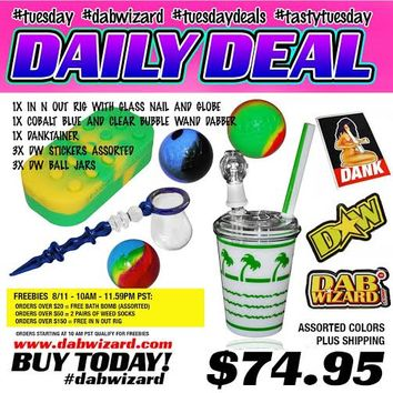 DAILY DEAL 08/11/2015: 1x In N Out Rig with Glass Nail and Globe + 1x Cobalt Blue and Clear Bubble Wand Dabber + 1x Danktainer + 3x DW Stickers Assorted + 3x DW Ball Jars