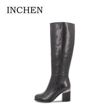 INCHEN Fur Wool Plush Cow Leather winter woman boots Genuine Leather 8.5cm high square heel Round Toe knee-high shoes lady JS021