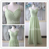 Chiffon Bridesmaid Dress Long Sage Bridesmaid dress Prom Party Dress Bridesmaid dress shoulder belt beading ball dresses