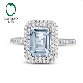 Caimao 6x8mm Emerald Cut Aquamarine 14k White Gold Natural 0.38ct Diamond Ring Fine Jewelry